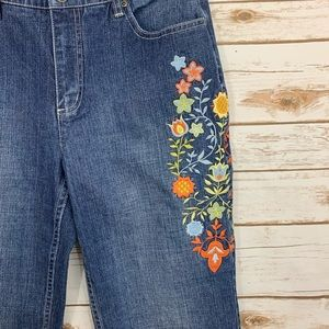 Talbots Jeans - Talbots Floral Embroidered Stretch Jeans 8